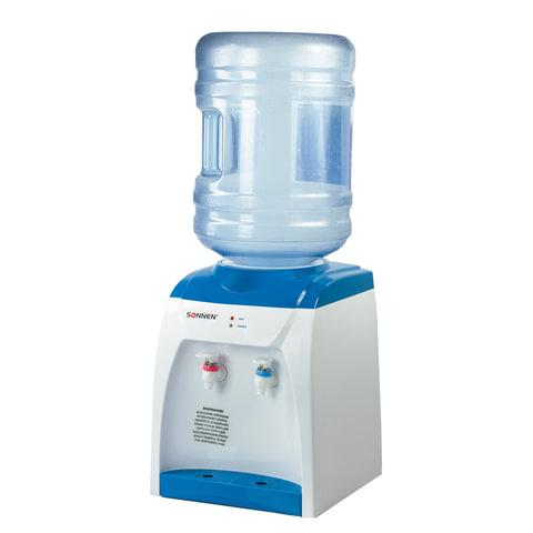 Кулер для воды (диспенсер) SONNEN TS-02, настольный, нагрев/без охлаждения, 2 крана, белый/синий