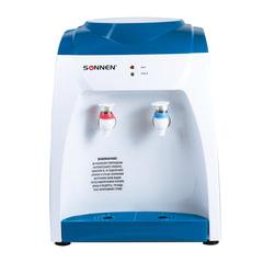 Кулер для воды SONNEN TS-03, настольный, нагрев/охлаждение, 2 крана, белый/синий